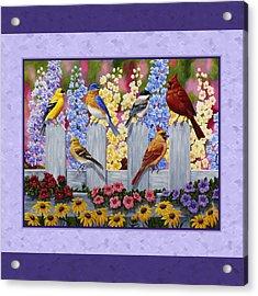 Garden Birds Duvet Cover Purple Acrylic Print by Crista Forest