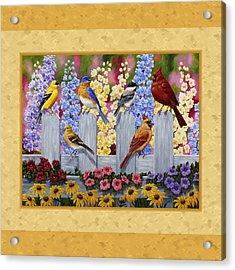 Garden Birds Duvet Cover Yellow Acrylic Print by Crista Forest