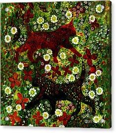 Garden Cats Acrylic Print