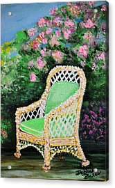 Acrylic Print featuring the painting Garden Chair by Debbie Baker