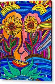 Garden Face - Lotus Pond - Daisy Eyes Acrylic Print