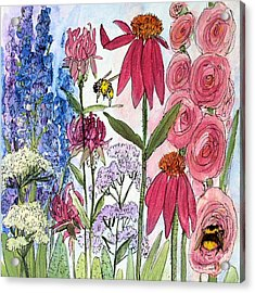 Garden Flower And Bees Acrylic Print