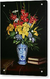 Acrylic Print featuring the painting Garden Flowers  by Sandra Nardone