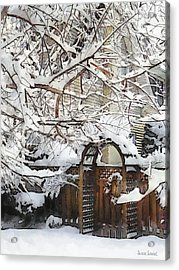 Garden Gate In Winter Acrylic Print by Susan Savad