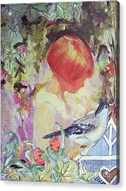 Garden Girl - Antique Collage Acrylic Print by Eloise Schneider