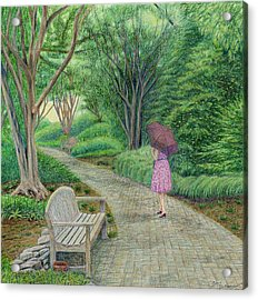 Garden Girl On A Misty Morning Walk Acrylic Print By Terry Hall