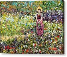 Garden Girl Acrylic Print by Pattie Calfy