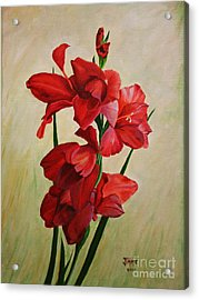 Acrylic Print featuring the painting Garden Gladiolas by Jimmie Bartlett
