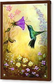 Acrylic Print featuring the mixed media Garden Guest In Brown by Terry Webb Harshman