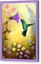 Acrylic Print featuring the mixed media Garden Guest In Lavender by Terry Webb Harshman