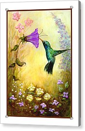 Acrylic Print featuring the mixed media Garden Guest by Terry Webb Harshman