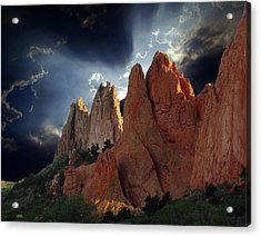 Garden Megaliths With Dramatic Sky Acrylic Print by John Hoffman