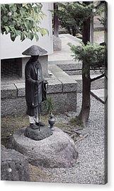 Zen Temple Garden Monk - Kyoto Japan Acrylic Print by Daniel Hagerman