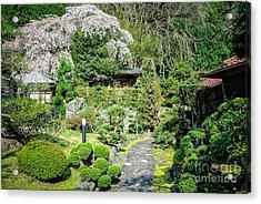 Garden Of A Japanese Ryokan With Sakura - Cherry Blossom Acrylic Print
