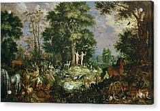 Garden Of Eden Acrylic Print by Roelandt Jacobsz Savery