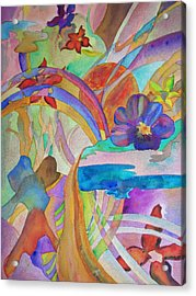 Acrylic Print featuring the painting Garden Path by Judy Via-Wolff