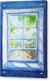 Garden Path Through A Summer Window  Acrylic Print by Trudi Doyle