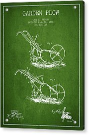Garden Plow Patent From 1886 - Green Acrylic Print
