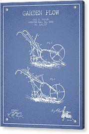 Garden Plow Patent From 1886 - Light Blue Acrylic Print