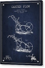 Garden Plow Patent From 1886 - Navy Blue Acrylic Print