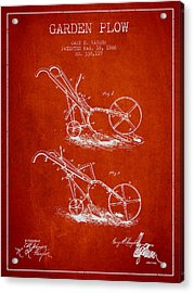 Garden Plow Patent From 1886 - Red Acrylic Print