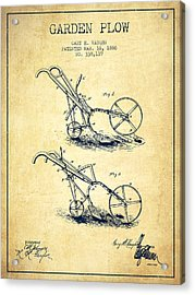 Garden Plow Patent From 1886 - Vintage Acrylic Print