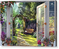 Acrylic Print featuring the drawing Garden View by Dominic Davison