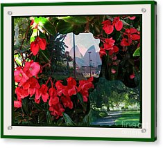 Acrylic Print featuring the photograph Garden Whispers In A Green Frame by Leanne Seymour