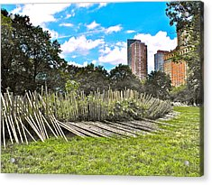Garden With Bamboo Garden Fence In Battery Park In New York City-ny Acrylic Print