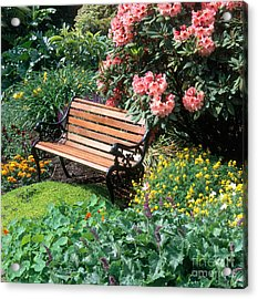 Garden With Bench Acrylic Print by Hans Reinhard