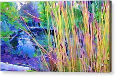 Garden With Koi Pond And Cattails Acrylic Print