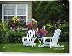 Garden With Lawn Chairs Acrylic Print by Elena Elisseeva