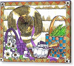 Acrylic Print featuring the drawing Gardener's Basket by Seth Weaver