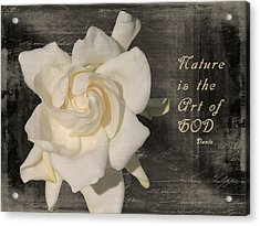 Gardenia And Quote Acrylic Print
