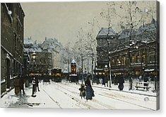 Gare Du Nord Paris Acrylic Print by Eugene Galien-Laloue