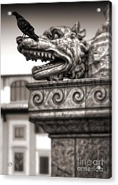 Gargoyle And Pidgeon - Sepia Acrylic Print by Gregory Dyer