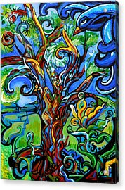Gargoyle Tree With Crow Acrylic Print by Genevieve Esson