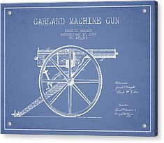 Garland Machine Gun Patent Drawing From 1892 - Light Blue Acrylic Print