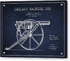 Garland Machine Gun Patent Drawing From 1892 - Navy Blue Acrylic Print
