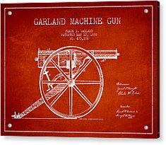 Garland Machine Gun Patent Drawing From 1892 - Red Acrylic Print