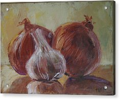 Garlic And Onions Acrylic Print by Terri Messinger