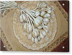 Acrylic Print featuring the drawing Garlic by Patricia Januszkiewicz