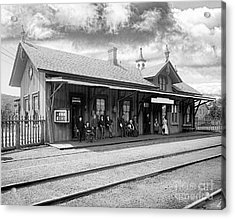 Garrison Train Station In Black And White Acrylic Print