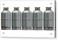 Gas Cylinder Row Acrylic Print by Allan Swart
