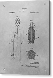 Gas Mask Patent Drawing Acrylic Print by Dan Sproul