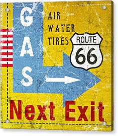 Gas Next Exit- Route 66 Acrylic Print by Linda Woods