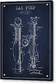 Gas Pump Patent Drawing From 1930 - Navy Blue Acrylic Print by Aged Pixel