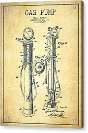 Gas Pump Patent Drawing From 1930 - Vintage Acrylic Print by Aged Pixel