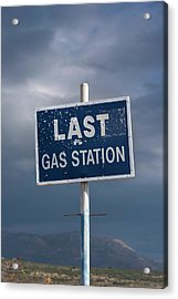 Gas Station Roadsign Acrylic Print by David Parker