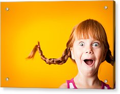 Gasping Red-haired Girl With Upward Braids And Excited Look Acrylic Print by Ideabug